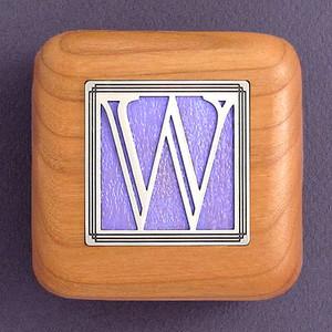 Monogram Letter W Wooden Ring Box
