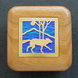 Wolf Wooden Treasure Box for Rings