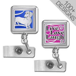 Square Retractable Badge Reels - Choose Designs