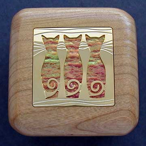 Three Cats Small Wooden Box for Rings