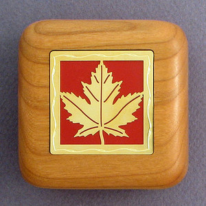 Maple Leaf Wooden Engagement Ring Boxes
