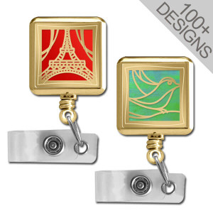 Gold Square Retractable Badge Holders