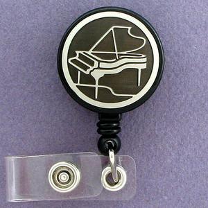 Black Piano ID Badge Holders