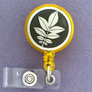 Walnut Leaves Retractable Name Badge Holder