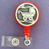 Cute Baby Stroller Retractable ID Badge Reels