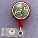Fancy Carousel Horse Retractable I.D. Badge Holder