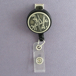 Mechanic Tools Retractable Name ID Badge Holders