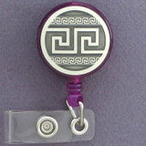 Greek Key Retractable Personnel ID Badge Holders