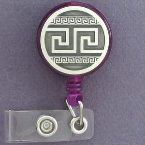 Greek Key Retractable Personnel ID Badge Holders