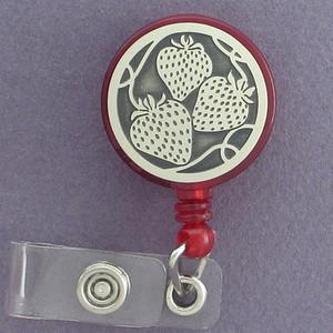 Strawberries Retractable Name Badge Reels