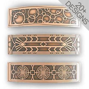 Copper Hair Barrettes - Large Decorative Etched Metal Designs