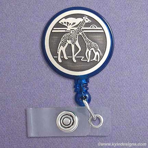 Giraffe Personalized  Retractable ID Badge Holder Reel