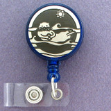 Cute Sea Otter Retractable ID Badge Holder Reel