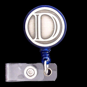 Monogrammed Letter D Retracting ID Badge Holder