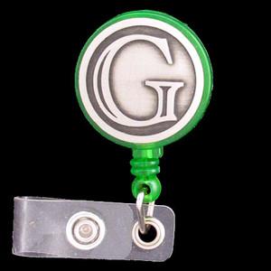 Monogrammed Letter G Retractable ID Badge Holder
