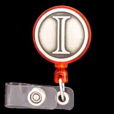 Monogrammed Letter I Retracting Name Badge Reel