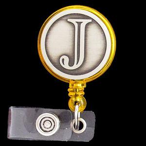 Monogrammed Letter J ID Badge Holder Reel