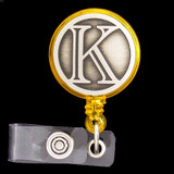 Monogrammed Letter K Name ID Badge Holders