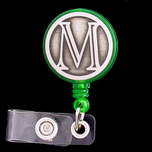 Monogram Letter M Retractable ID Badge Holder