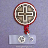 First Aid Cross Retractable ID Badge Holder