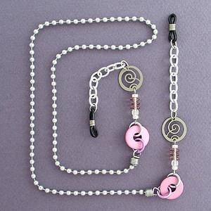 Silver & Pink Beaded Eyeglasses Chain