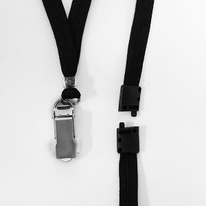Clamp-Ended Proximity Badge Lanyards - Black Breakaway