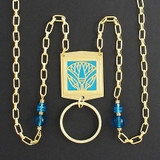 Egyptian Lotus Beaded Necklace Badge or Glasses Holder