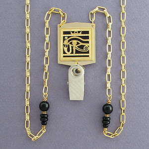 Egyptian Eye Badge Holder Necklaces or Eyeglasses Chains