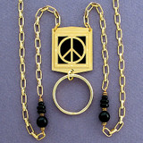 Peace Sign Badge Necklace or Eyeglass Holder Chain