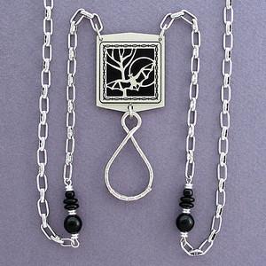 Bat Beaded Necklace Badge Holder or Eyeglass Chain
