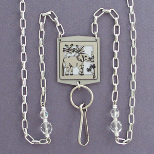 Elephant Beaded ID Necklace Holder or Glasses Chain