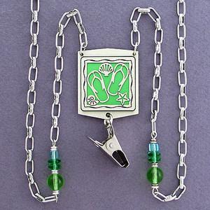 Flip Flop Beaded Badge Holder Necklace or Glasses Chain