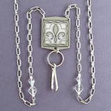 Fleur De Lis Badge Holder Necklaces or Eyeglasses Chains