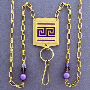 Greek Fret ID Holder Necklace or Eyeglasses Chain
