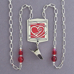 Hearts Afire Badge Holder Lanyards or Glasses Necklaces