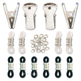 Silver eyeglasses chain repair kits with end loops, clips & jump rings.