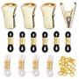 Gold eyeglasses holder repair kit with end loops, grips & jump rings.