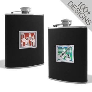Modern Liquor Flasks - 6 Oz Black Leather