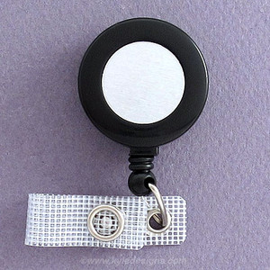 Round Black Retractable ID Name Badge Holders with Silver Center