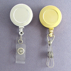 Metallic Gold or Silver Chrome Retractable Name Badge Holders
