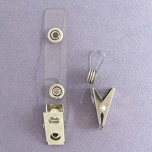 Name Badge Holder Clips with Plastic ID Straps