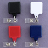 Square Color Retractable ID Badge Holders with Twist Free Strap
