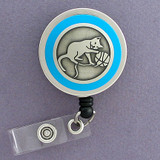 Blue Cat Badge Reel Gift for Cat Lovers