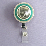 Green American Flag Badge Reel