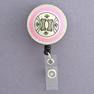 Pink Dog Paw Prints Badge Reel