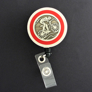 Red Cyclist Badge Reel