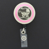 Pink Baby Buggy Badge Holder for Delivery Nurse