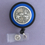 Blue Carousel Horse Badge Reel