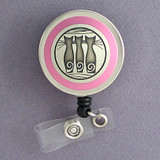 Pink Cat Name Badge Reel