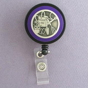 Purple Gardener Badge Reel for Garden Show